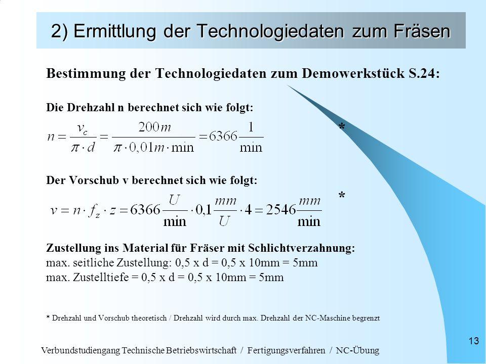Verbundstudiengang Technische Betriebswirtschaft / Fertigungsverfahren / NC-Übung 13 2) Ermittlung der Technologiedaten zum Fräsen Bestimmung der Tech