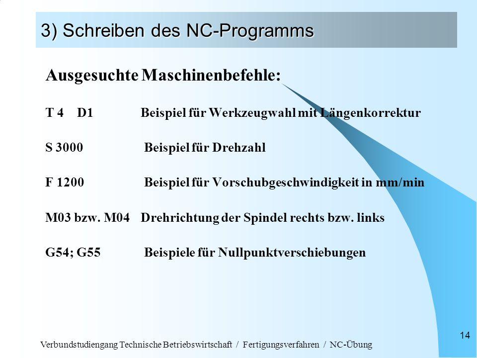 Verbundstudiengang Technische Betriebswirtschaft / Fertigungsverfahren / NC-Übung 14 3) Schreiben des NC-Programms Ausgesuchte Maschinenbefehle: T 4D1