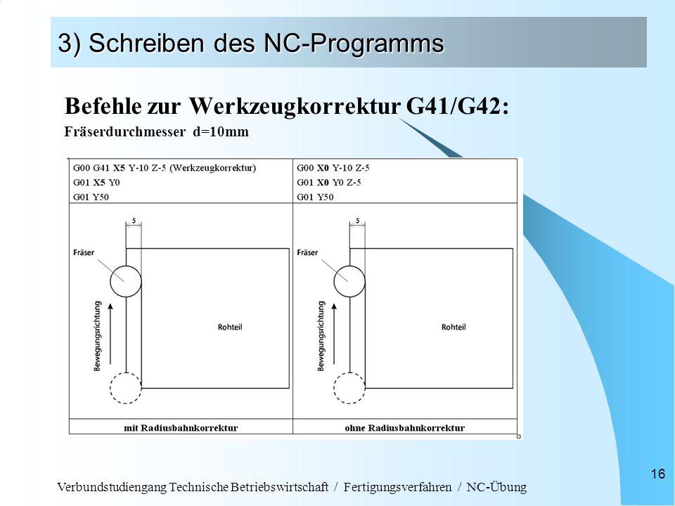 Verbundstudiengang Technische Betriebswirtschaft / Fertigungsverfahren / NC-Übung 16 3) Schreiben des NC-Programms Befehle zur Werkzeugkorrektur G41/G