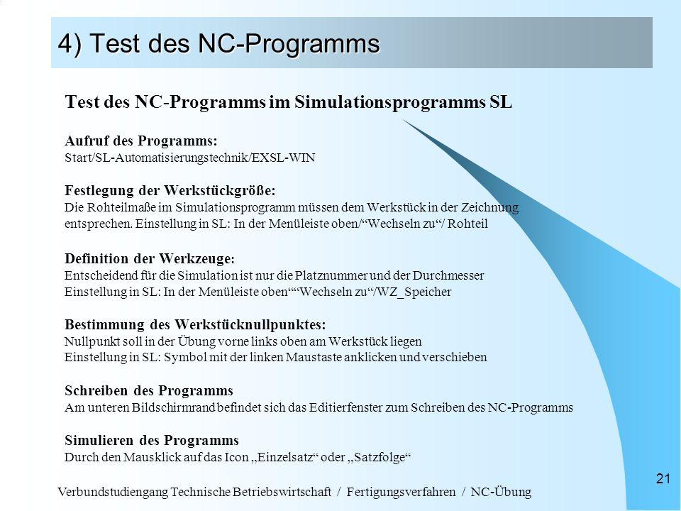 Verbundstudiengang Technische Betriebswirtschaft / Fertigungsverfahren / NC-Übung 21 4) Test des NC-Programms Test des NC-Programms im Simulationsprog