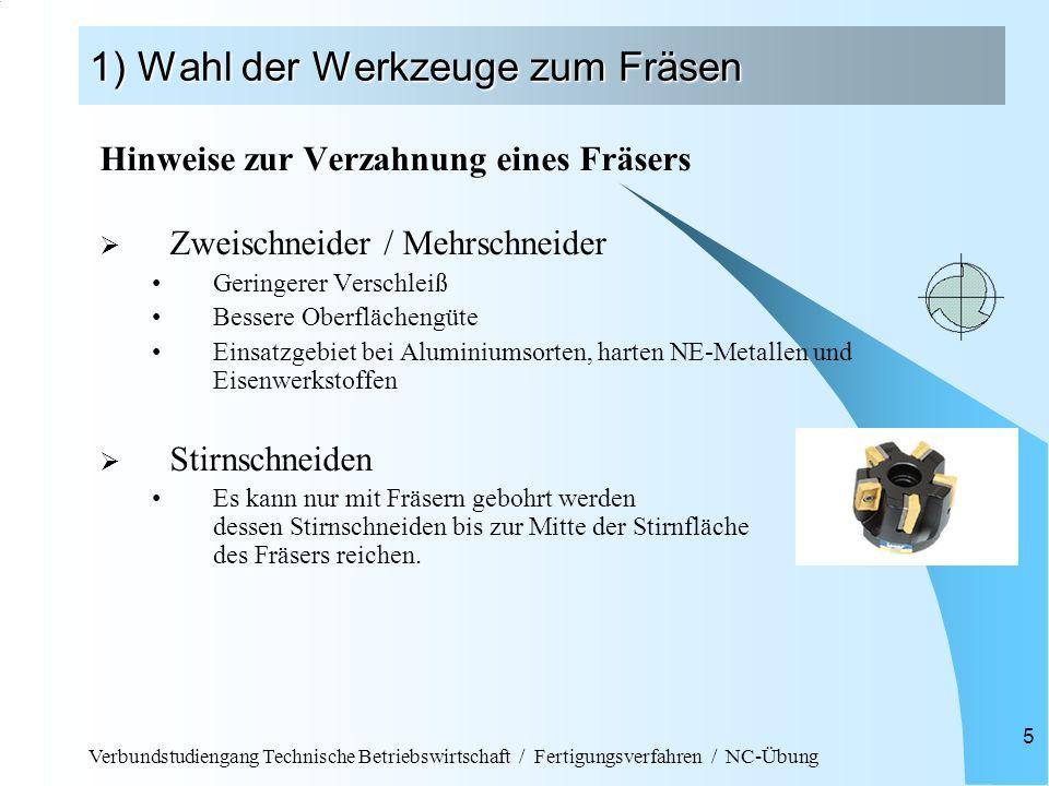 Verbundstudiengang Technische Betriebswirtschaft / Fertigungsverfahren / NC-Übung 5 1) Wahl der Werkzeuge zum Fräsen Hinweise zur Verzahnung eines Frä