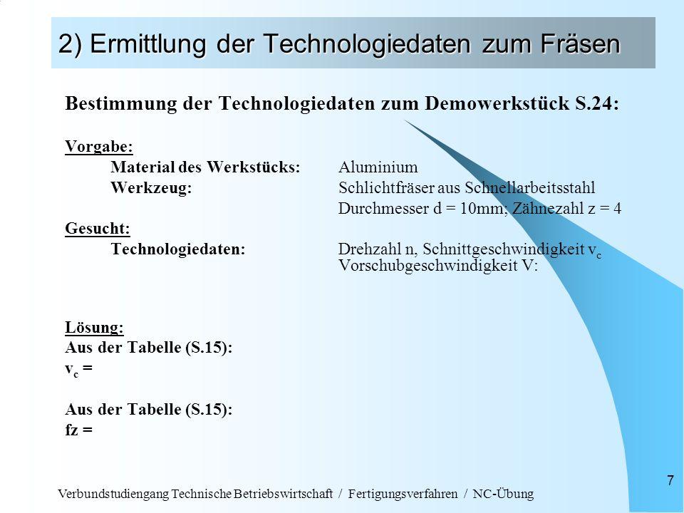 Verbundstudiengang Technische Betriebswirtschaft / Fertigungsverfahren / NC-Übung 7 2) Ermittlung der Technologiedaten zum Fräsen Bestimmung der Techn