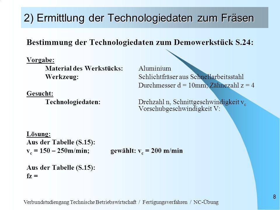 Verbundstudiengang Technische Betriebswirtschaft / Fertigungsverfahren / NC-Übung 8 2) Ermittlung der Technologiedaten zum Fräsen Bestimmung der Techn