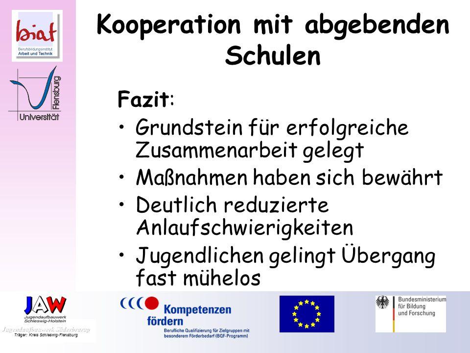 Kooperation mit abgebenden Schulen Zusammenarbeit der Lehrkräfte Schnuppertage Fachpraktischer Unterricht Einzelfallbesprechungen Lehrkräfteaustausch