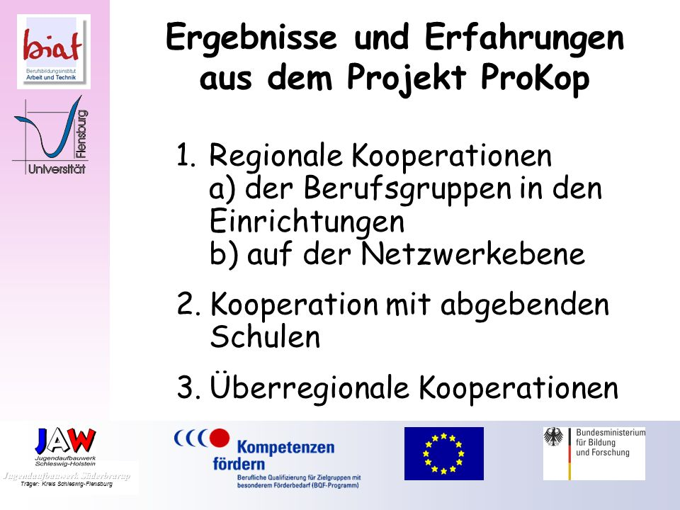 Ergebnisse und Erfahrungen aus dem Projekt ProKop 1.Regionale Kooperationen a) der Berufsgruppen in den Einrichtungen b) auf der Netzwerkebene 2.Kooperation mit abgebenden Schulen 3.Überregionale Kooperationen