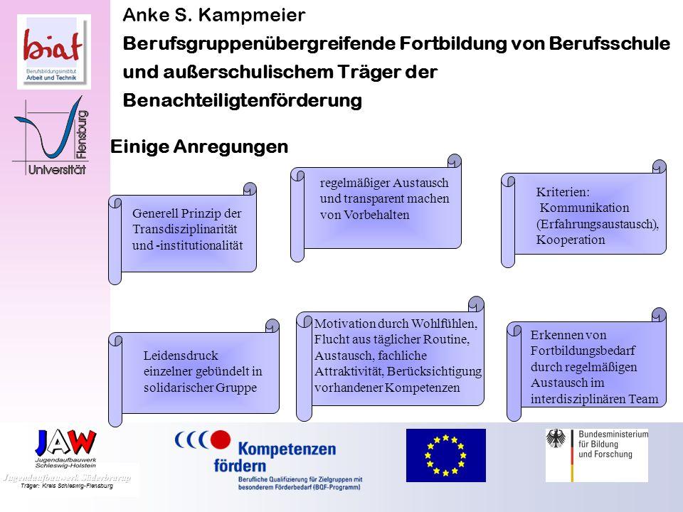 Anke S. Kampmeier Berufsgruppenübergreifende Fortbildung von Berufsschule und außerschulischem Träger der Benachteiligtenförderung prozesshaft stetige