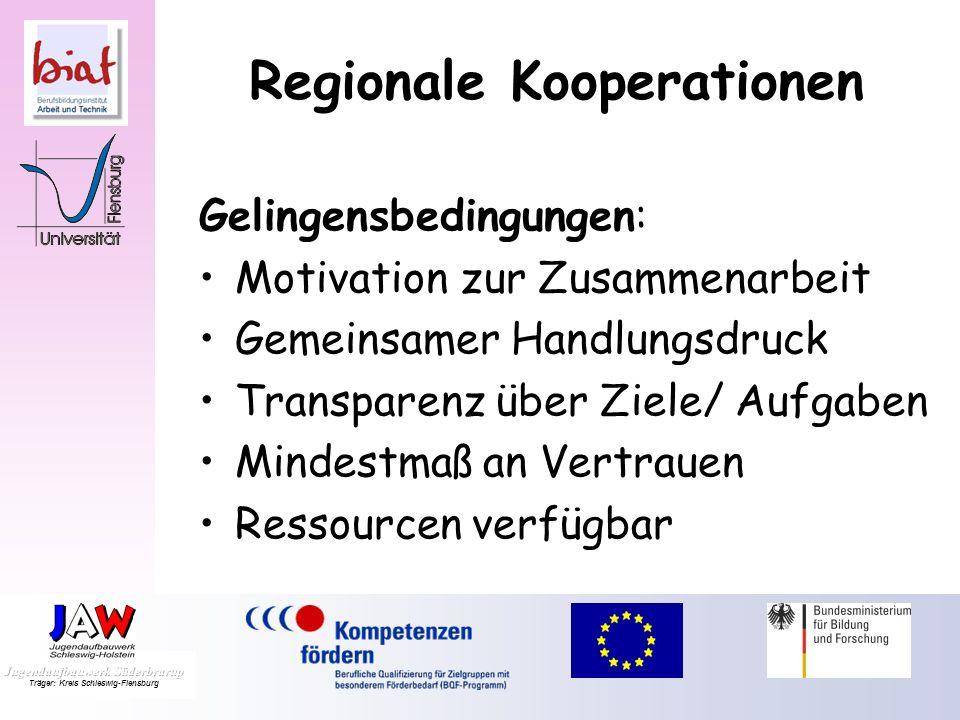 Regionale Kooperationen Gelingensbedingungen: Motivation zur Zusammenarbeit Gemeinsamer Handlungsdruck Transparenz über Ziele/ Aufgaben Mindestmaß an Vertrauen Ressourcen verfügbar