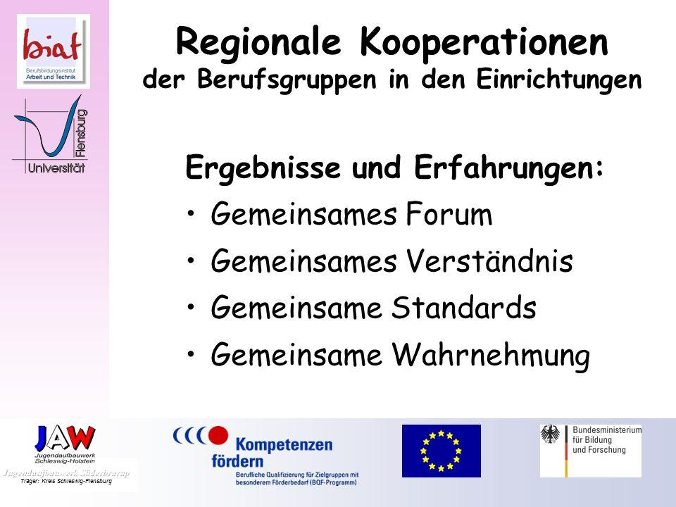 Ergebnisse und Erfahrungen: Gemeinsames Forum Gemeinsames Verständnis Gemeinsame Standards Gemeinsame Wahrnehmung Regionale Kooperationen der Berufsgruppen in den Einrichtungen