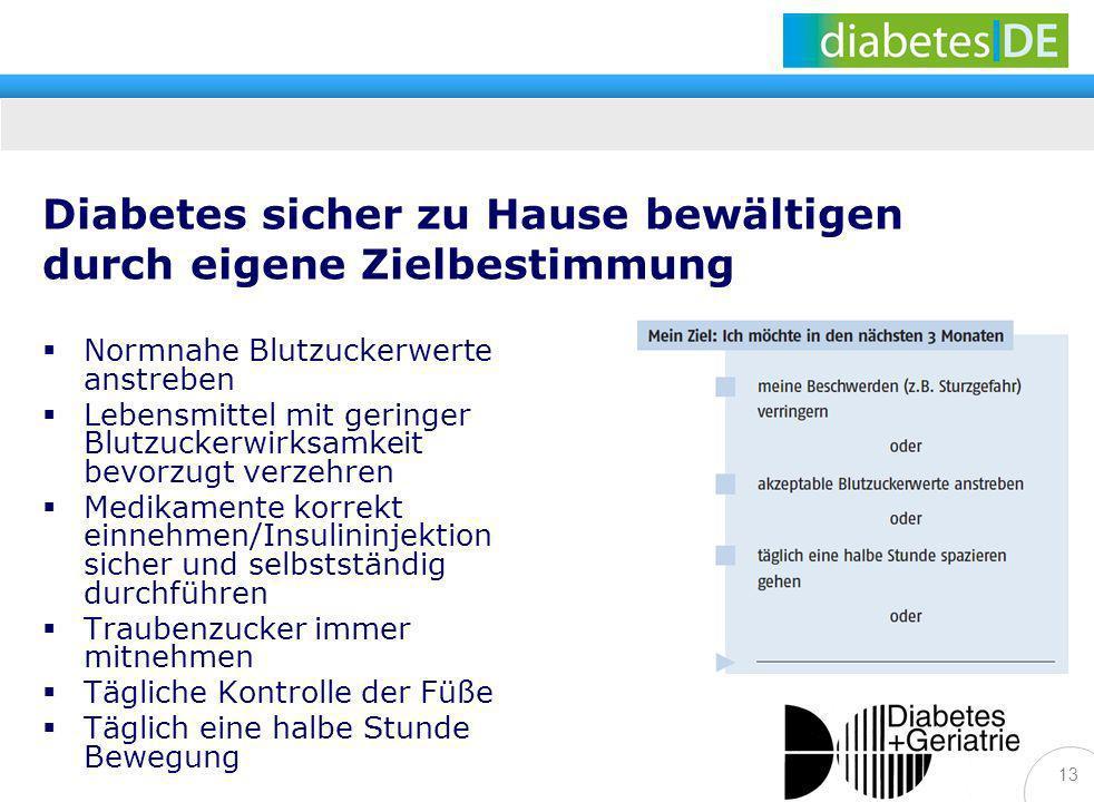 13 Diabetes sicher zu Hause bewältigen durch eigene Zielbestimmung Normnahe Blutzuckerwerte anstreben Lebensmittel mit geringer Blutzuckerwirksamkeit