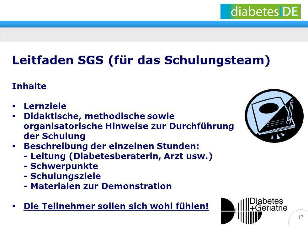17 Leitfaden SGS (für das Schulungsteam) Inhalte Lernziele Didaktische, methodische sowie organisatorische Hinweise zur Durchführung der Schulung Besc