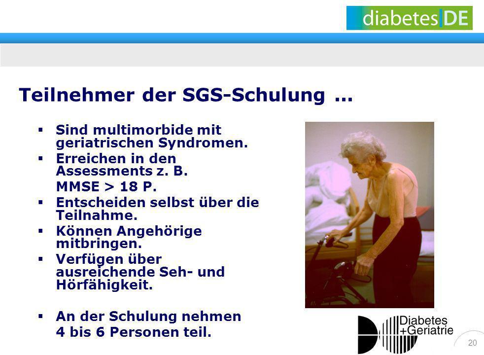 20 Teilnehmer der SGS-Schulung... Sind multimorbide mit geriatrischen Syndromen. Erreichen in den Assessments z. B. MMSE > 18 P. Entscheiden selbst üb
