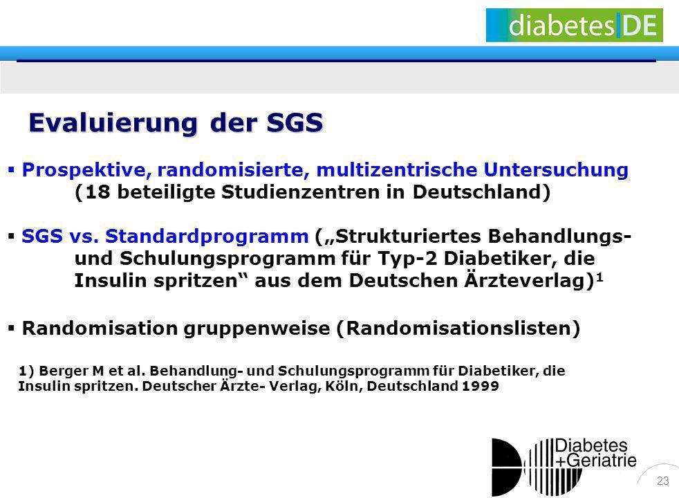 23 Prospektive, randomisierte, multizentrische Untersuchung (18 beteiligte Studienzentren in Deutschland) SGS vs. Standardprogramm (Strukturiertes Beh