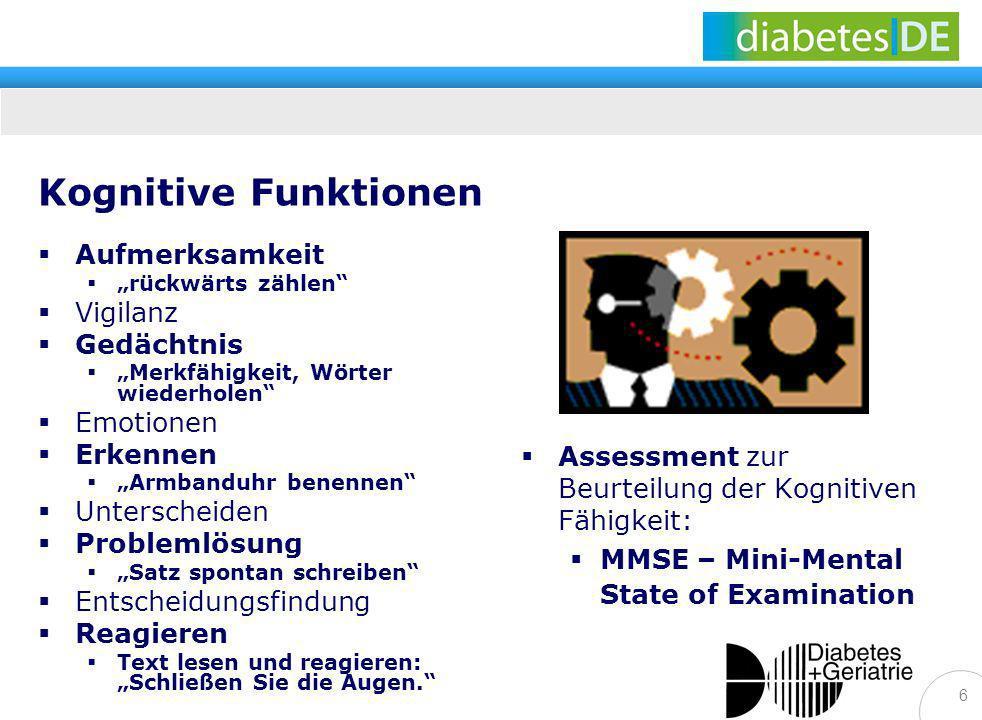 6 Kognitive Funktionen Assessment zur Beurteilung der Kognitiven Fähigkeit: MMSE – Mini-Mental State of Examination Aufmerksamkeit rückwärts zählen Vi