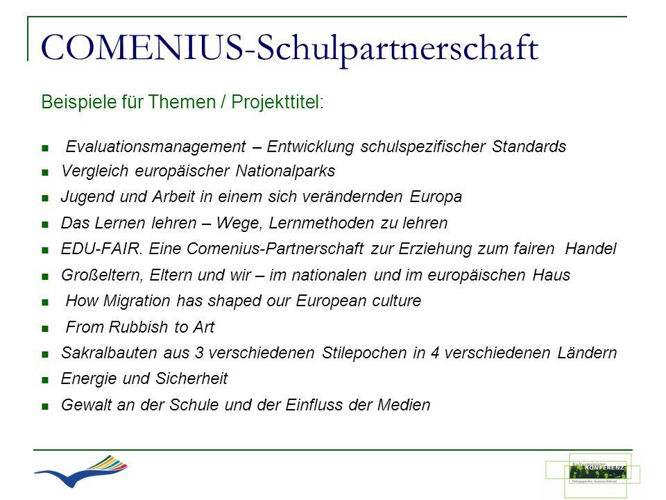 COMENIUS-Schulpartnerschaft Beispiele für Themen / Projekttitel: Evaluationsmanagement – Entwicklung schulspezifischer Standards Vergleich europäische