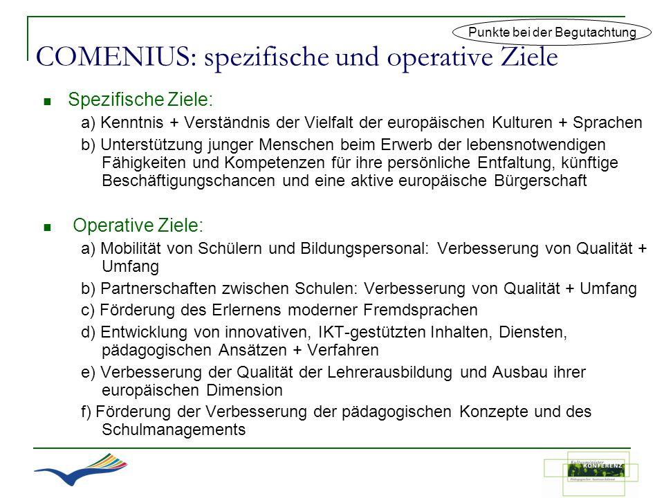 COMENIUS: spezifische und operative Ziele Spezifische Ziele: a) Kenntnis + Verständnis der Vielfalt der europäischen Kulturen + Sprachen b) Unterstütz