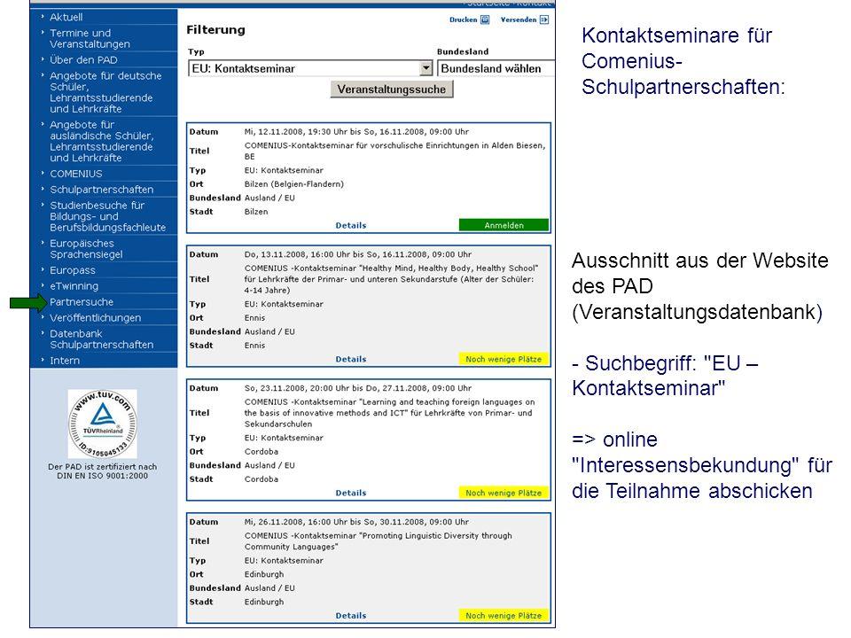 Kontaktseminare für Comenius- Schulpartnerschaften: Ausschnitt aus der Website des PAD (Veranstaltungsdatenbank) - Suchbegriff: