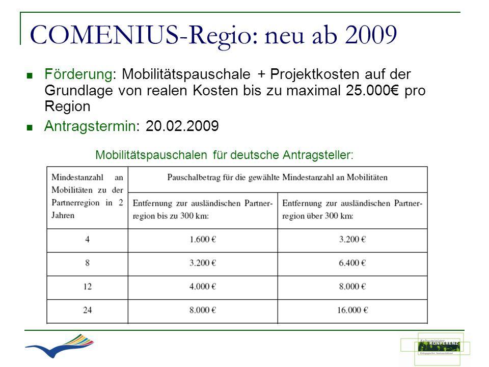 COMENIUS-Regio: neu ab 2009 Förderung: Mobilitätspauschale + Projektkosten auf der Grundlage von realen Kosten bis zu maximal 25.000 pro Region Antrag
