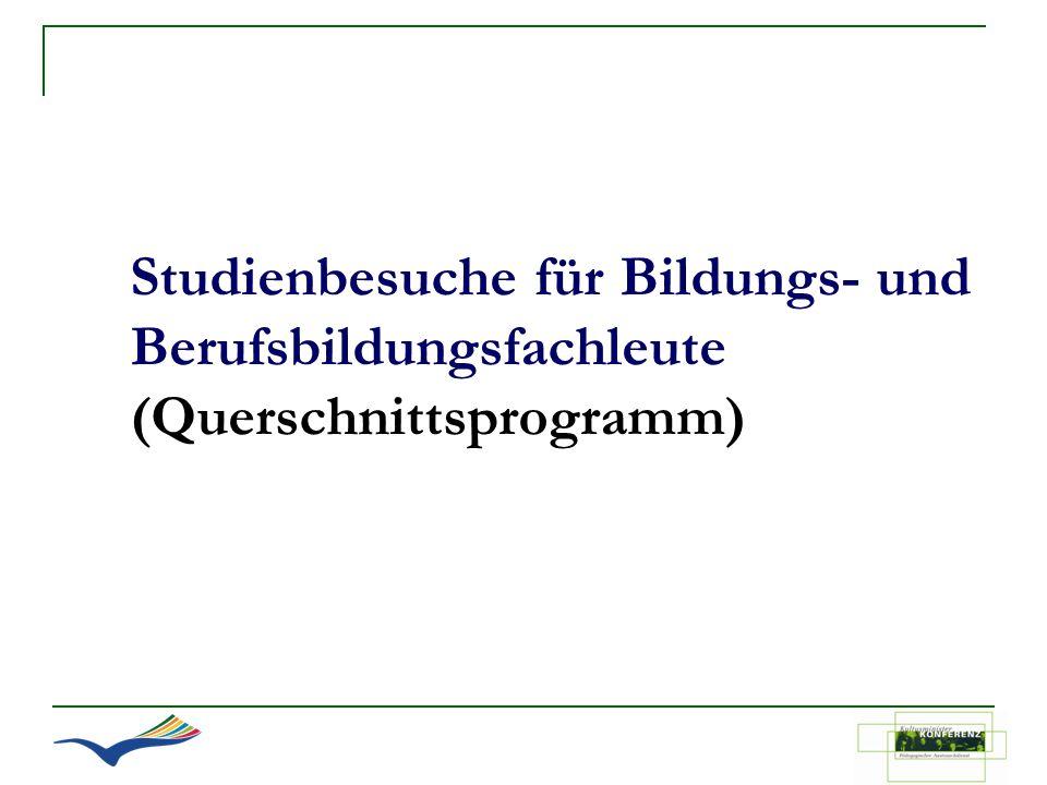 Studienbesuche für Bildungs- und Berufsbildungsfachleute (Querschnittsprogramm)