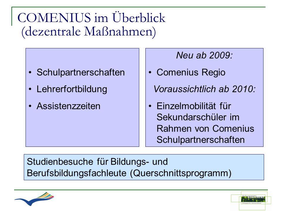 COMENIUS im Überblick (dezentrale Maßnahmen) Schulpartnerschaften Lehrerfortbildung Assistenzzeiten Studienbesuche für Bildungs- und Berufsbildungsfac