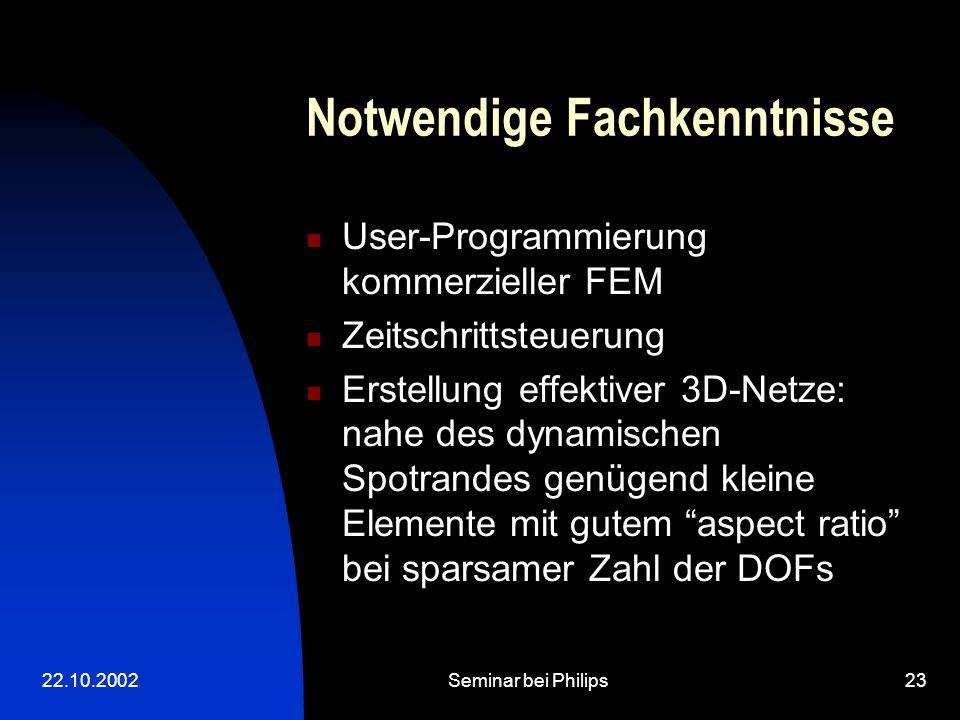 22.10.2002Seminar bei Philips23 Notwendige Fachkenntnisse User-Programmierung kommerzieller FEM Zeitschrittsteuerung Erstellung effektiver 3D-Netze: nahe des dynamischen Spotrandes genügend kleine Elemente mit gutem aspect ratio bei sparsamer Zahl der DOFs