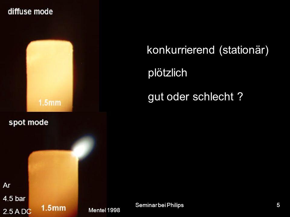 22.10.2002Seminar bei Philips5 konkurrierend (stationär) plötzlich gut oder schlecht ? Ar 4.5 bar 2.5 A DC Mentel 1998