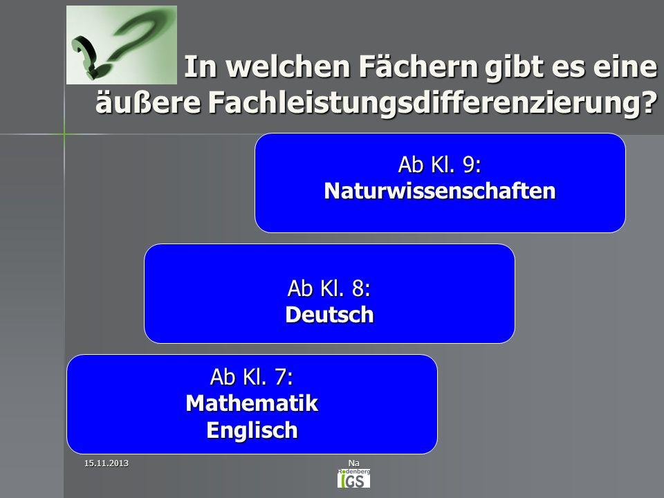 In welchen Fächern gibt es eine äußere Fachleistungsdifferenzierung? 15.11.2013Na Ab Kl. 7: MathematikEnglisch Ab Kl. 8: Deutsch Ab Kl. 9: Naturwissen