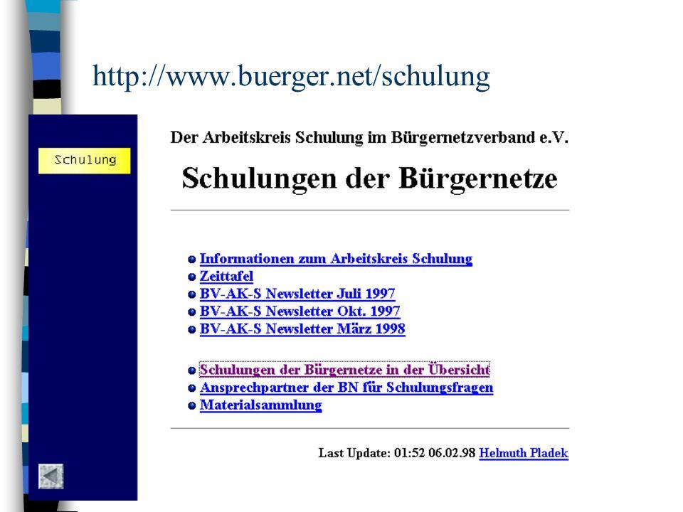 Server-Inhalte (I) n http://www.buerger.net/schulung/material.html –http://technik.buergernetz.de:90/ –http://www.pfaffenhofen.de/intern/links.html –http://www.schrobenhausen.baynet.de/technik/ papers/papers.htm –http://www.bingo.baynet.de/verein/ak/Schulung/html/ demo/index.shtml –http://www.ebe-online.de/ebe_onl/ ak_schul/script/index.htm –http://www.fen.baynet.de/hilfe/index2.html