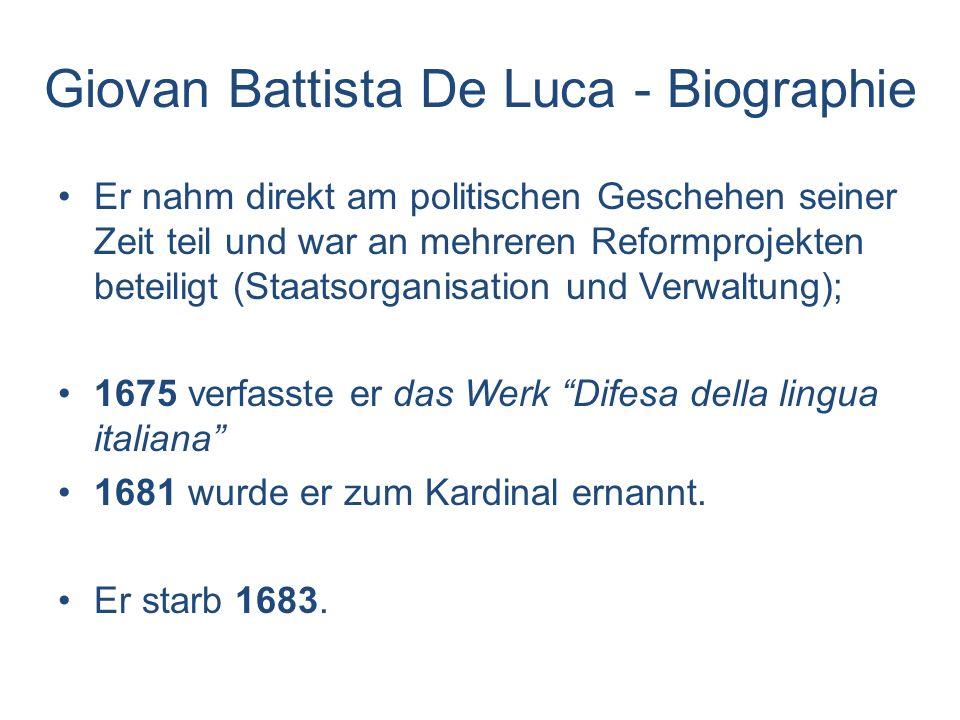 Theatrum veritatis et iustitiae (1669-73) Sein Hauptwerk umfassende Abhandlung des gesamten (damals geltenden) Rechts mit Ausnahme des « Diritto Criminale « Das Theatrum ist in lateinischer Sprache verfasst und in folgende Themenbereich unterteilt: