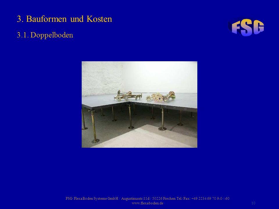 FSG FlexaBoden Systeme GmbH / Augustinusstr.11d / 50226 Frechen Tel./Fax: +49 2234 69 70 9-0 /-60 www.flexaboden.de10 3. Bauformen und Kosten 3.1. Dop