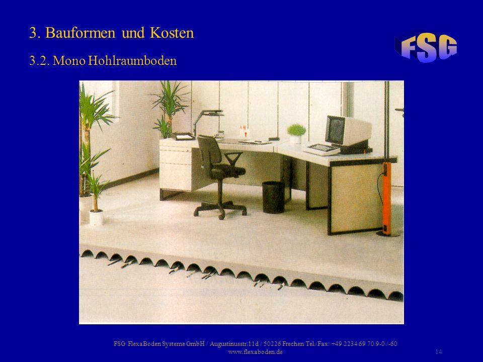 FSG FlexaBoden Systeme GmbH / Augustinusstr.11d / 50226 Frechen Tel./Fax: +49 2234 69 70 9-0 /-60 www.flexaboden.de14 3. Bauformen und Kosten 3.2. Mon