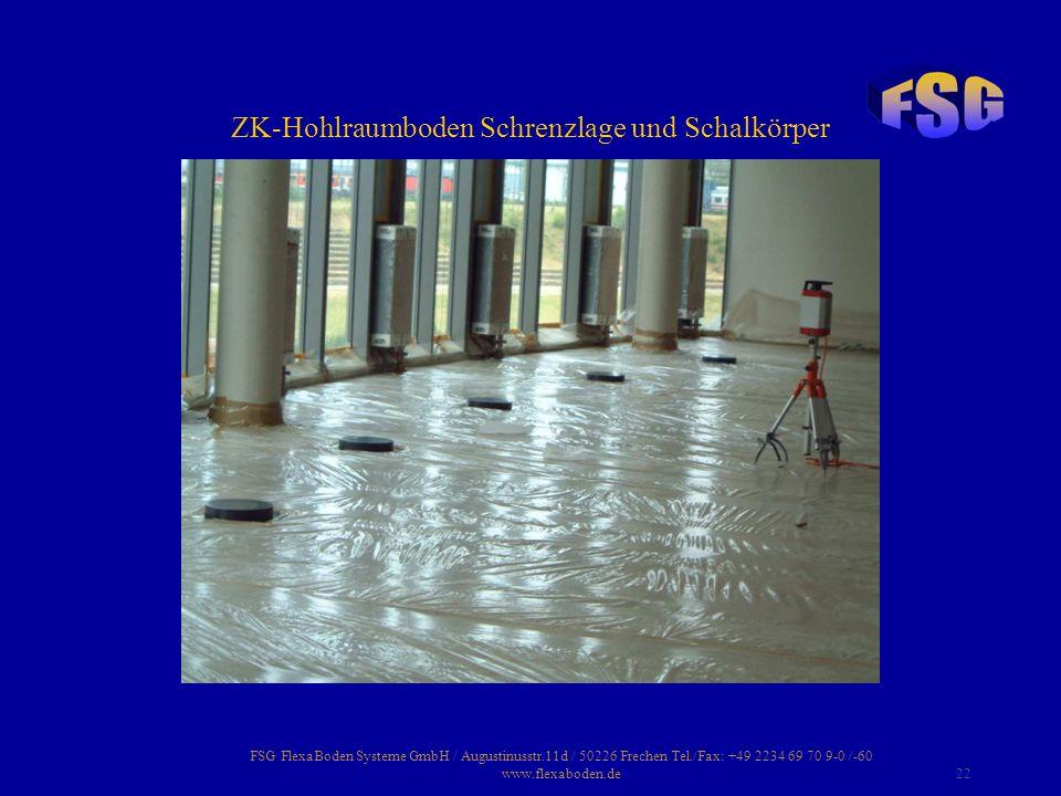 FSG FlexaBoden Systeme GmbH / Augustinusstr.11d / 50226 Frechen Tel./Fax: +49 2234 69 70 9-0 /-60 www.flexaboden.de22 ZK-Hohlraumboden Schrenzlage und