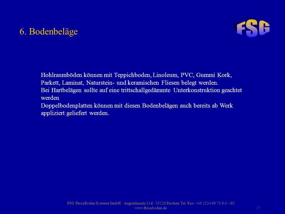 FSG FlexaBoden Systeme GmbH / Augustinusstr.11d / 50226 Frechen Tel./Fax: +49 2234 69 70 9-0 /-60 www.flexaboden.de37 Hohlraumböden können mit Teppich