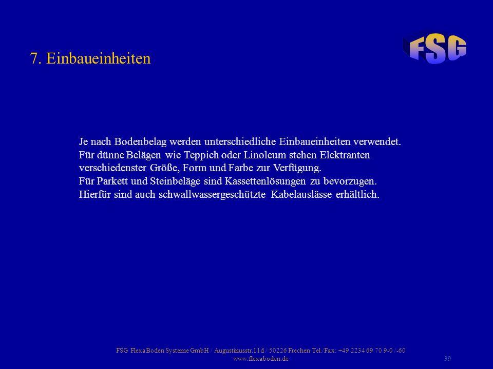 FSG FlexaBoden Systeme GmbH / Augustinusstr.11d / 50226 Frechen Tel./Fax: +49 2234 69 70 9-0 /-60 www.flexaboden.de39 Je nach Bodenbelag werden unters