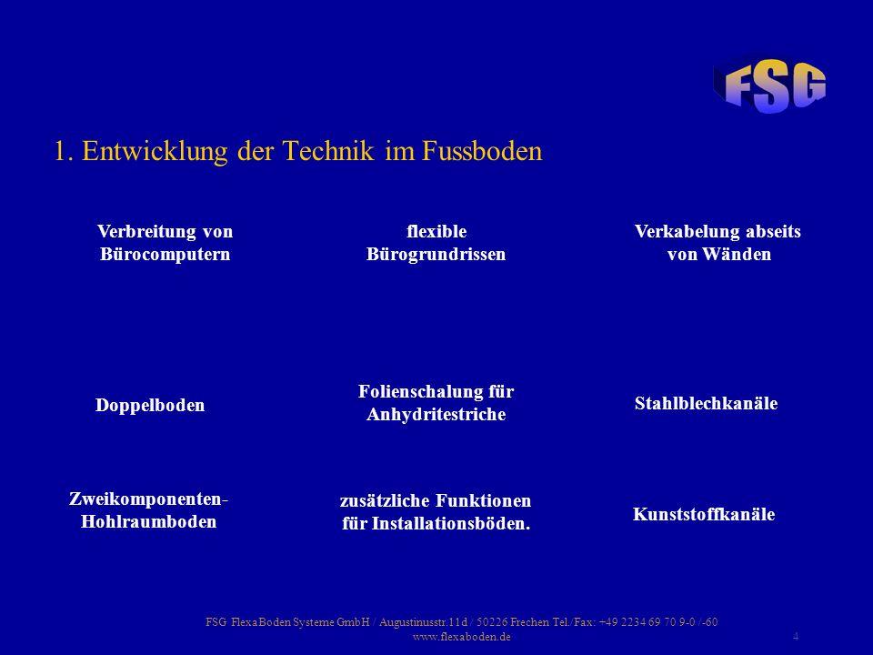 FSG FlexaBoden Systeme GmbH / Augustinusstr.11d / 50226 Frechen Tel./Fax: +49 2234 69 70 9-0 /-60 www.flexaboden.de4 1. Entwicklung der Technik im Fus