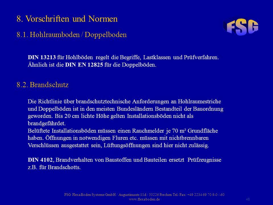 FSG FlexaBoden Systeme GmbH / Augustinusstr.11d / 50226 Frechen Tel./Fax: +49 2234 69 70 9-0 /-60 www.flexaboden.de48 DIN 13213 für Hohlböden regelt d