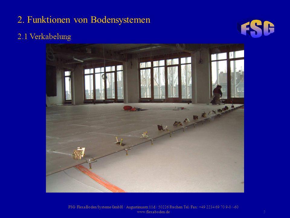 FSG FlexaBoden Systeme GmbH / Augustinusstr.11d / 50226 Frechen Tel./Fax: +49 2234 69 70 9-0 /-60 www.flexaboden.de5 2. Funktionen von Bodensystemen 2