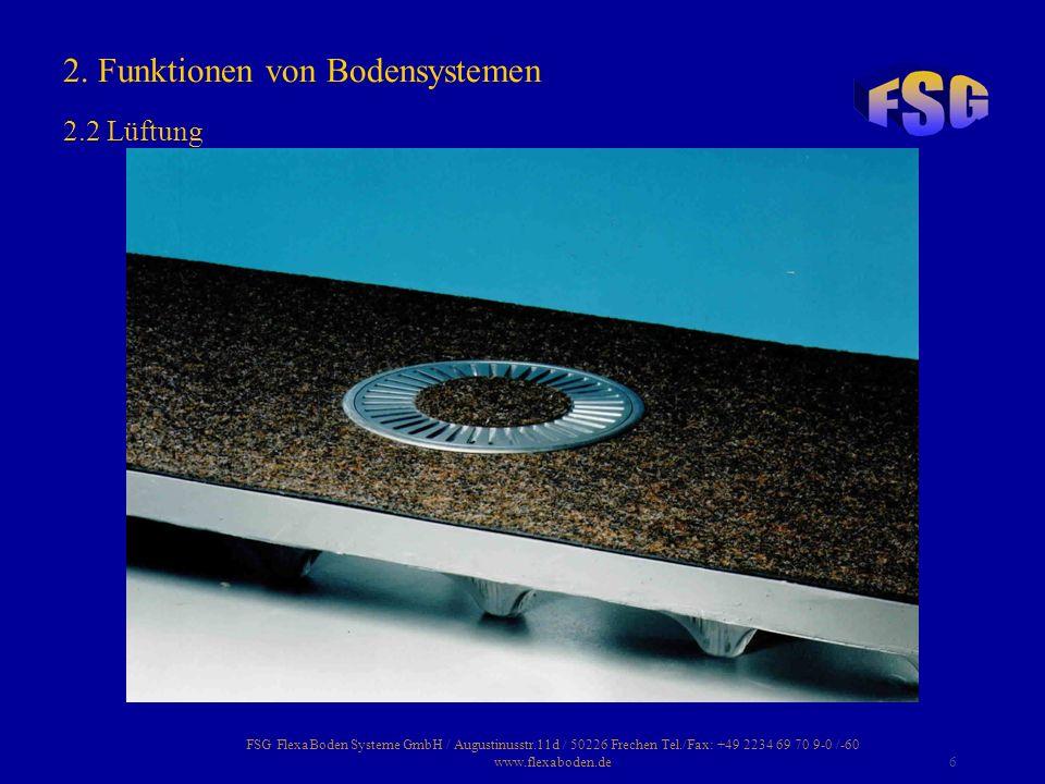FSG FlexaBoden Systeme GmbH / Augustinusstr.11d / 50226 Frechen Tel./Fax: +49 2234 69 70 9-0 /-60 www.flexaboden.de37 Hohlraumböden können mit Teppichboden, Linoleum, PVC, Gummi Kork, Parkett, Laminat, Naturstein- und keramischen Fliesen belegt werden.