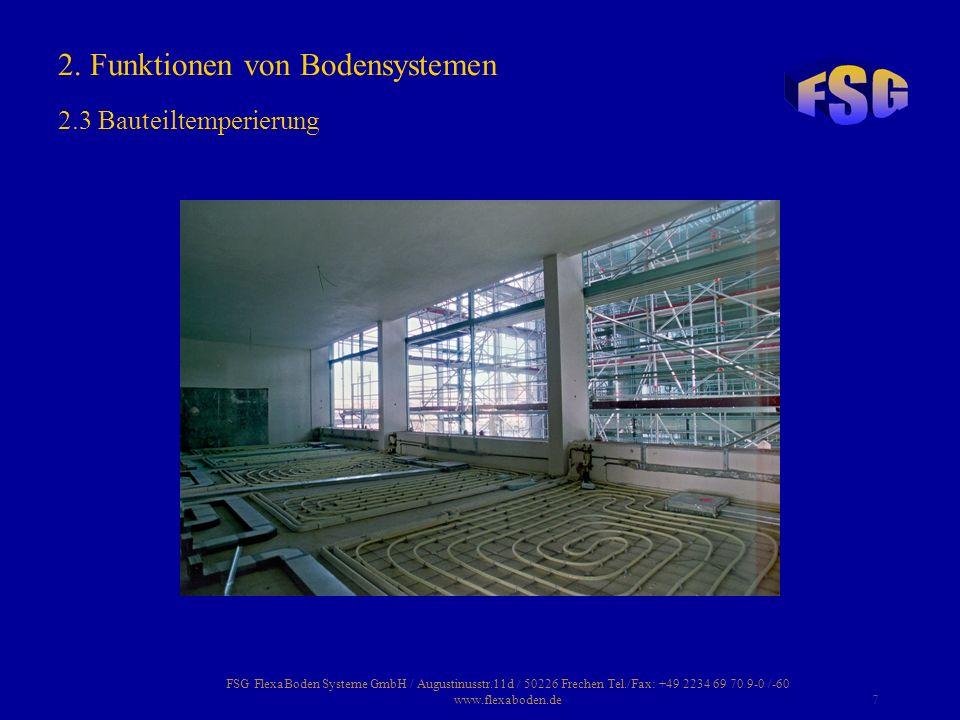 FSG FlexaBoden Systeme GmbH / Augustinusstr.11d / 50226 Frechen Tel./Fax: +49 2234 69 70 9-0 /-60 www.flexaboden.de7 2. Funktionen von Bodensystemen 2