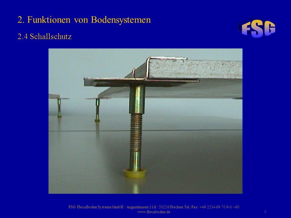 FSG FlexaBoden Systeme GmbH / Augustinusstr.11d / 50226 Frechen Tel./Fax: +49 2234 69 70 9-0 /-60 www.flexaboden.de9 Ein Doppelboden besteht aus nivellierbaren Stahlstützen, die im Raster von 60x60 cm auf der Rohdecke befestigt sind.