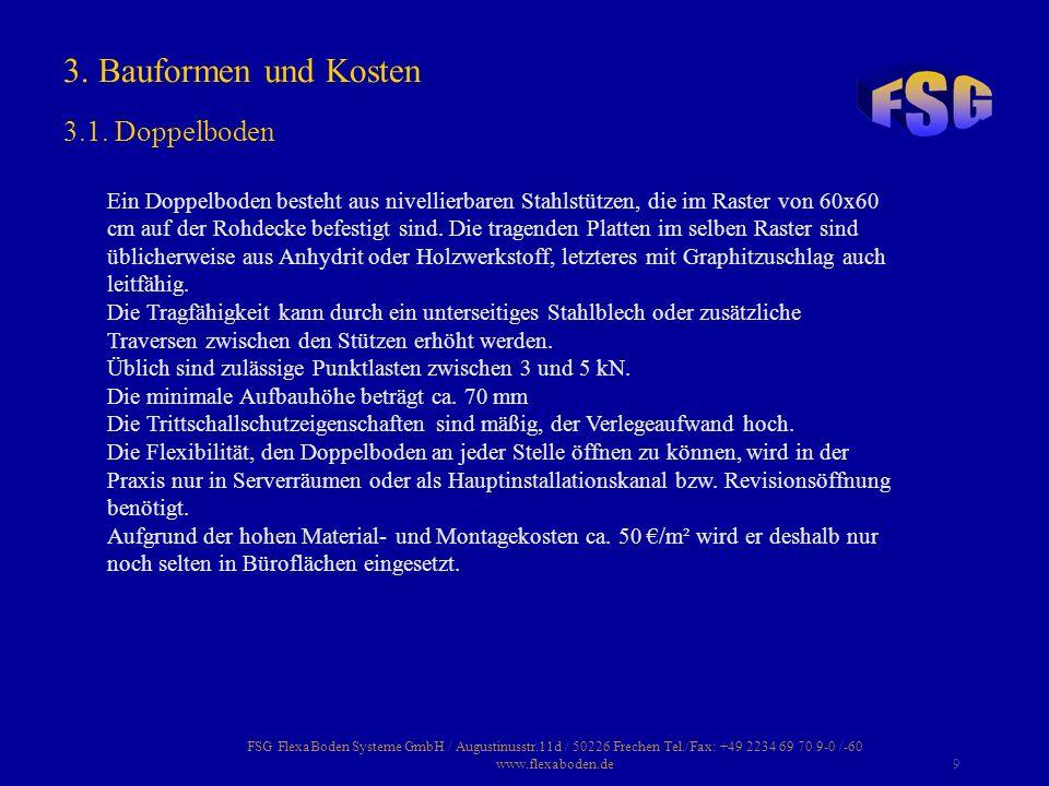 FSG FlexaBoden Systeme GmbH / Augustinusstr.11d / 50226 Frechen Tel./Fax: +49 2234 69 70 9-0 /-60 www.flexaboden.de9 Ein Doppelboden besteht aus nivel
