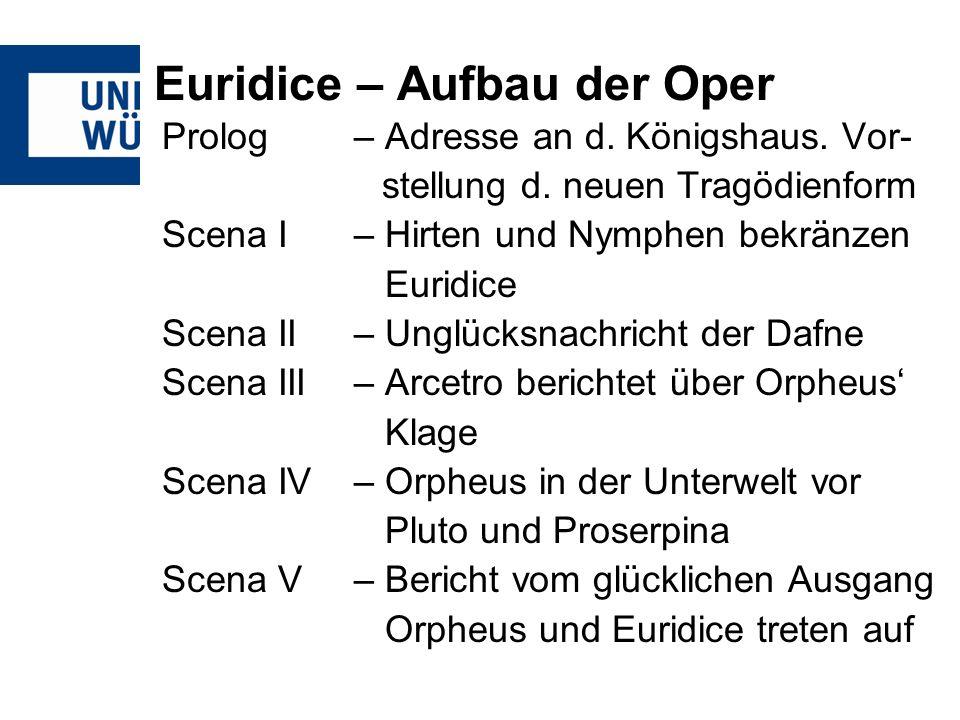 Euridice – Aufbau der Oper Prolog– Adresse an d. Königshaus. Vor- stellung d. neuen Tragödienform Scena I – Hirten und Nymphen bekränzen Euridice Scen