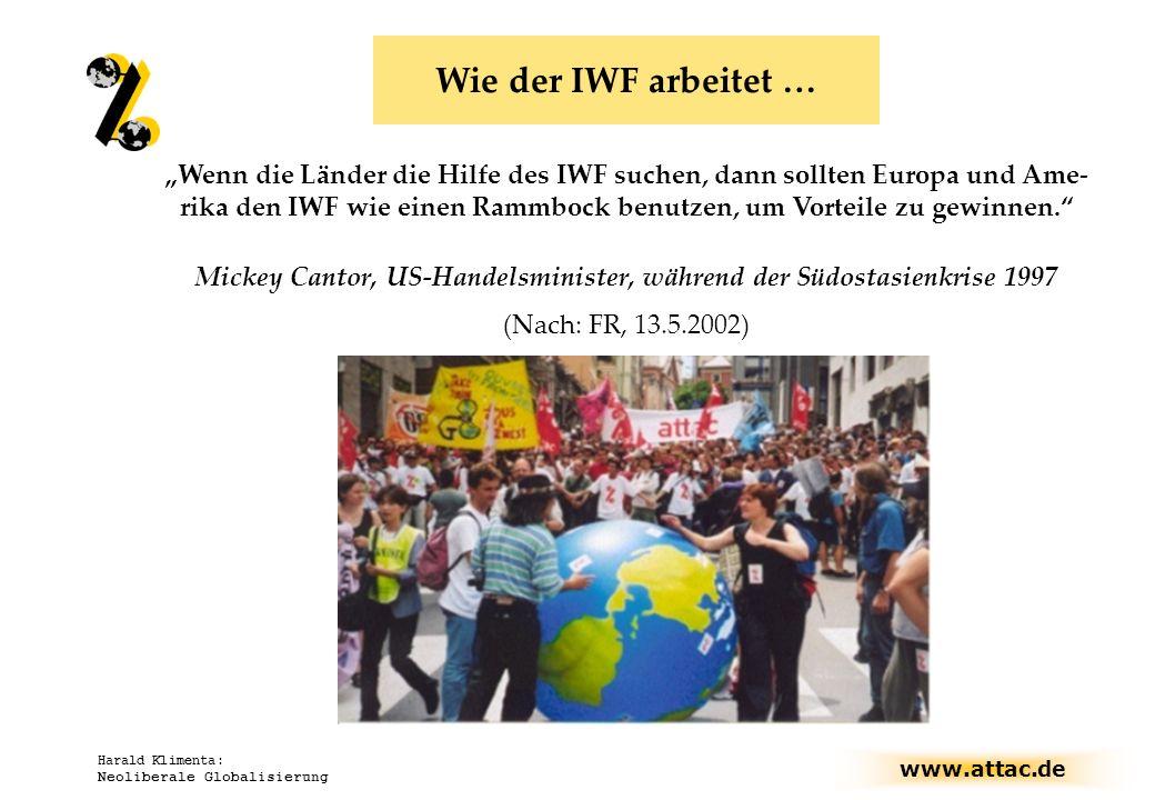 www.attac.de Harald Klimenta: Neoliberale Globalisierung Wenn die Länder die Hilfe des IWF suchen, dann sollten Europa und Ame- rika den IWF wie einen