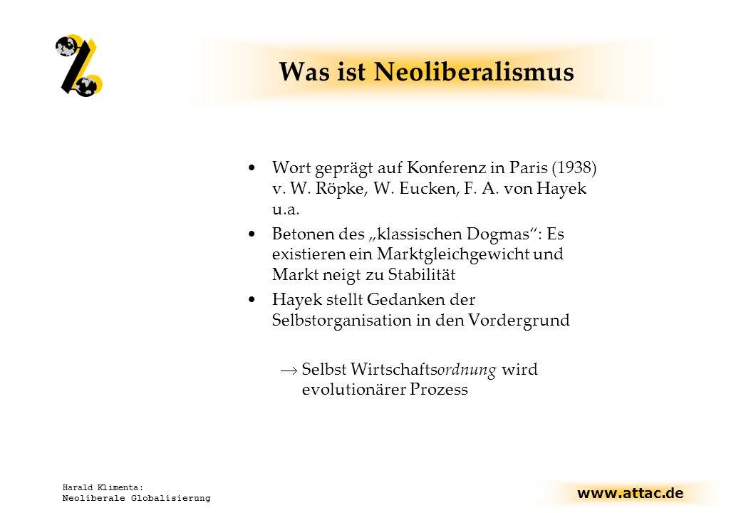 www.attac.de Harald Klimenta: Neoliberale Globalisierung Was ist Neoliberalismus Wort geprägt auf Konferenz in Paris (1938) v. W. Röpke, W. Eucken, F.