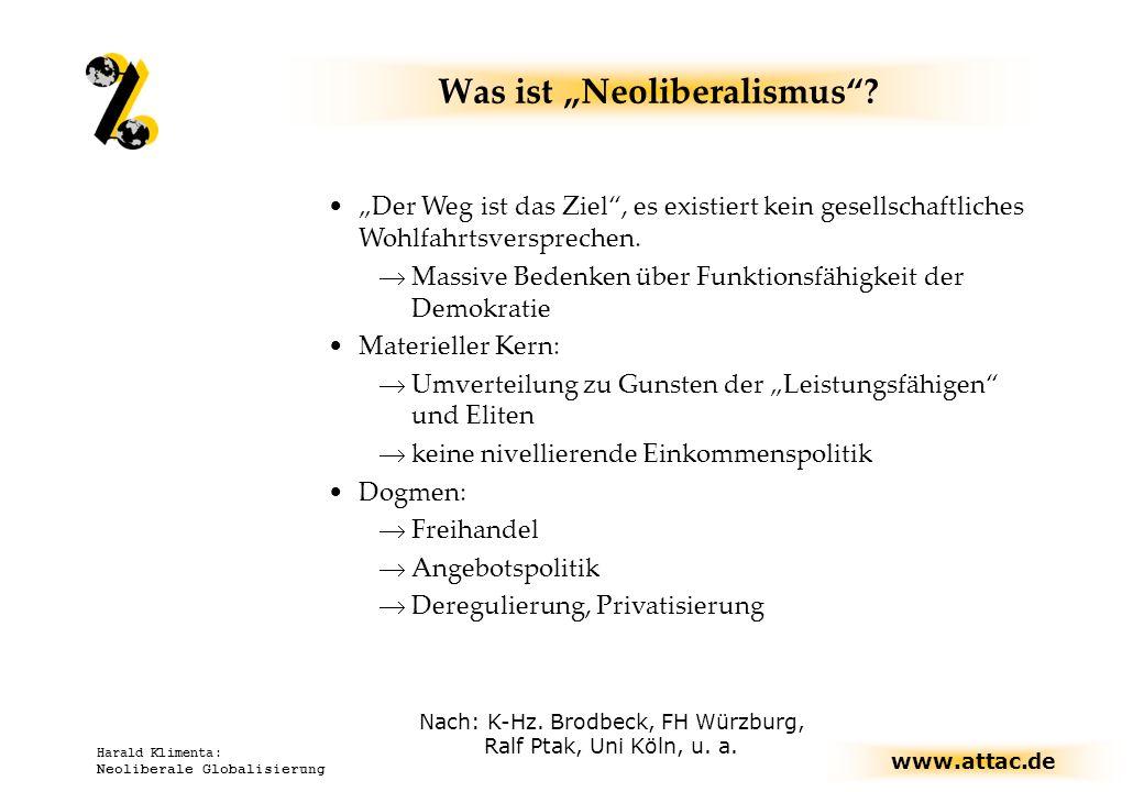 www.attac.de Harald Klimenta: Neoliberale Globalisierung Was ist Neoliberalismus? Nach: K-Hz. Brodbeck, FH Würzburg, Ralf Ptak, Uni Köln, u. a. Der We