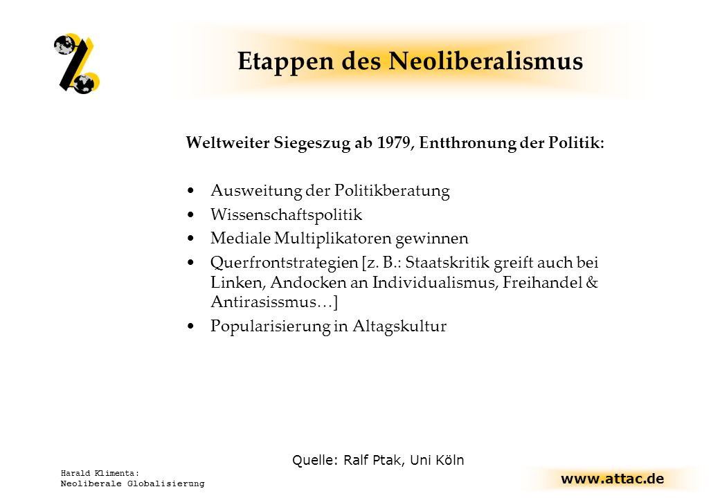 www.attac.de Harald Klimenta: Neoliberale Globalisierung Etappen des Neoliberalismus Weltweiter Siegeszug ab 1979, Entthronung der Politik: Ausweitung