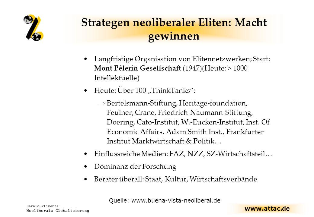 www.attac.de Harald Klimenta: Neoliberale Globalisierung Strategen neoliberaler Eliten: Macht gewinnen Langfristige Organisation von Elitennetzwerken;