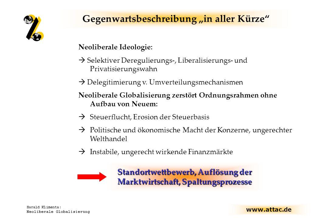 www.attac.de Harald Klimenta: Neoliberale Globalisierung Gegenwartsbeschreibung in aller Kürze Neoliberale Ideologie: Selektiver Deregulierungs-, Libe