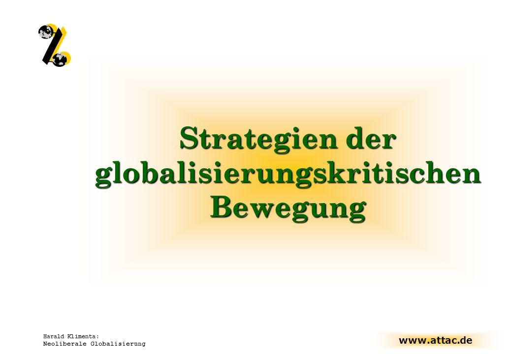 www.attac.de Harald Klimenta: Neoliberale Globalisierung Strategien der globalisierungskritischen Bewegung