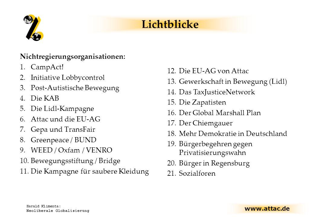 www.attac.de Harald Klimenta: Neoliberale Globalisierung Lichtblicke Nichtregierungsorganisationen: 1.CampAct! 2.Initiative Lobbycontrol 3.Post-Autist
