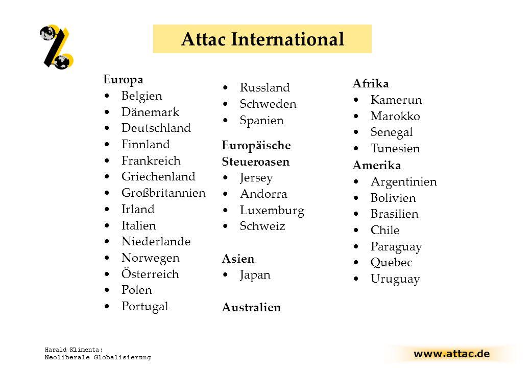 www.attac.de Harald Klimenta: Neoliberale Globalisierung Attac International Europa Belgien Dänemark Deutschland Finnland Frankreich Griechenland Groß